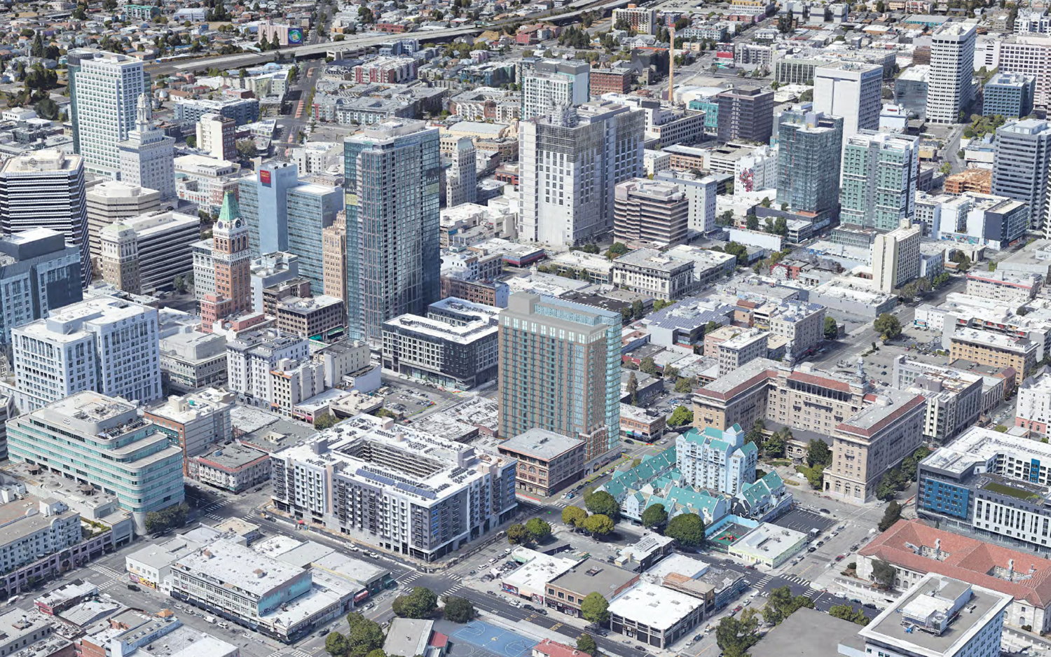 1261 Harrison Street aerial view from the south, rendering by Heller Manus Architects using Google Satellite imagery