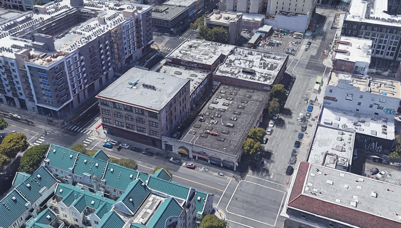 1261 Harrison Street existing condition, image via Google Satellite