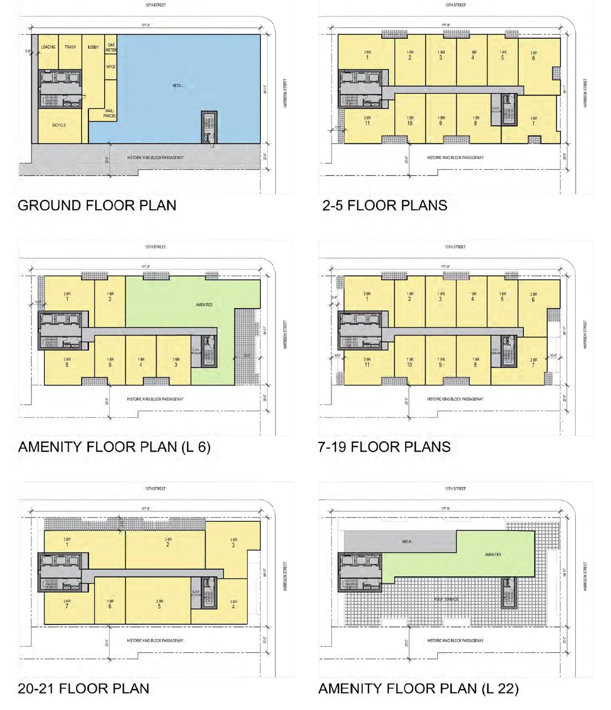 1261 Harrison Street floor plans, illustrations by Heller Manus Architects