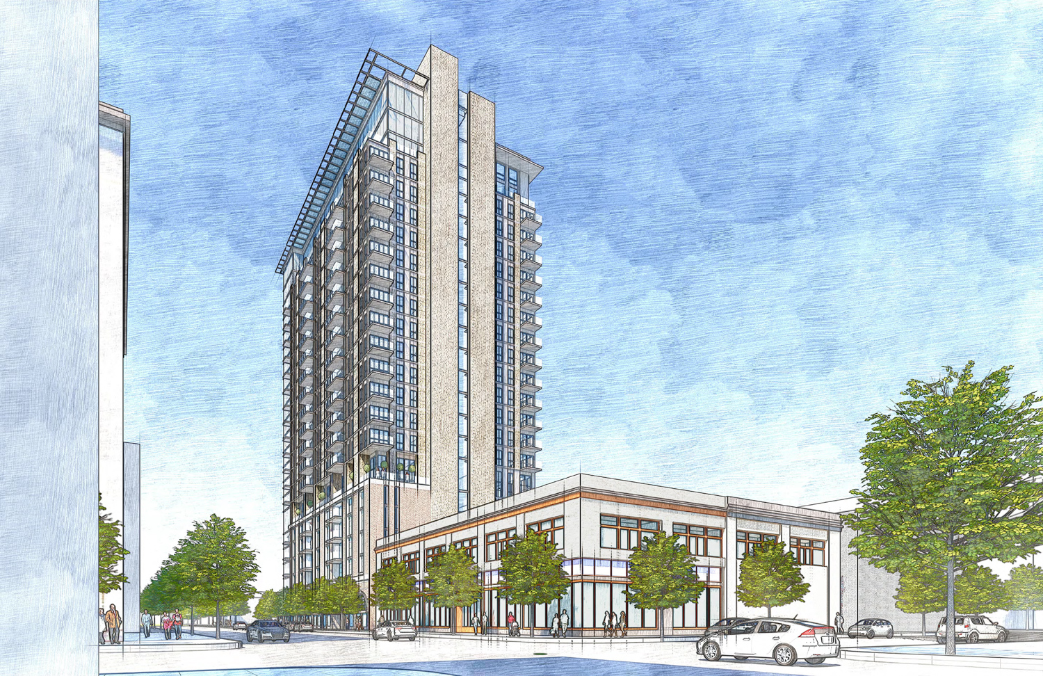 1261 Harrison Street from 13th and Webster Street, rendering by Heller Manus Architects