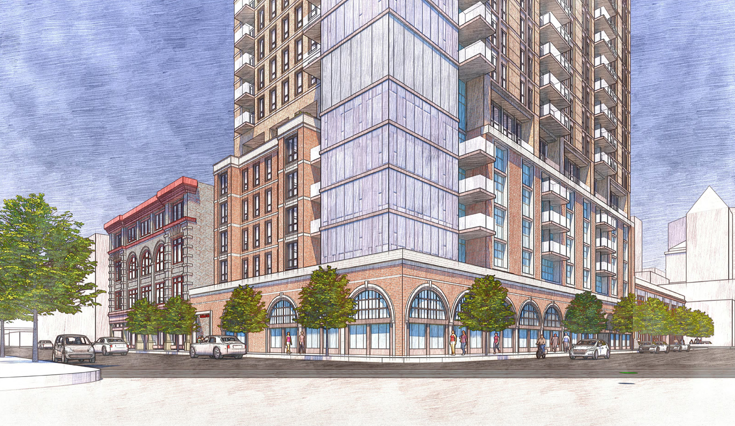 1261 Harrison Street podium viewed from the Harrison and 13th Street intersection, rendering by Heller Manus Architects