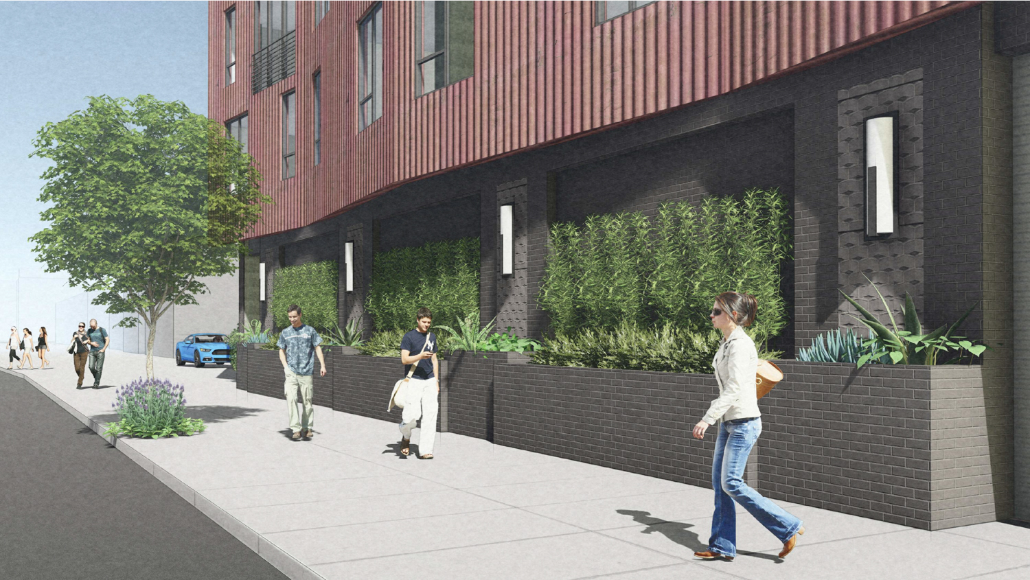 2600 Telegraph Avenue active sidewalk, rendering by BAR Architects
