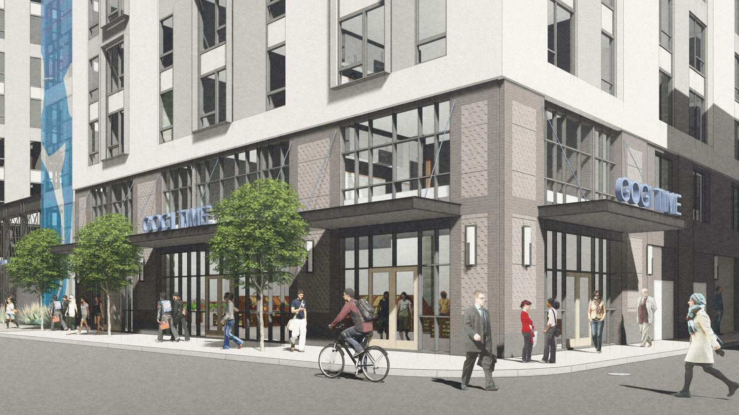 2600 Telegraph Avenue corner view, rendering by BAR Architects