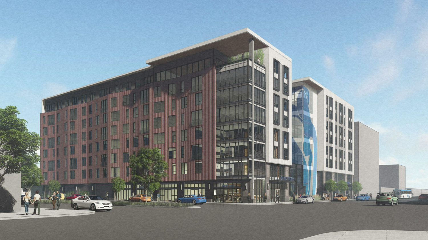 2600 Telegraph Avenue north-facade perspective, rendering by BAR Architects