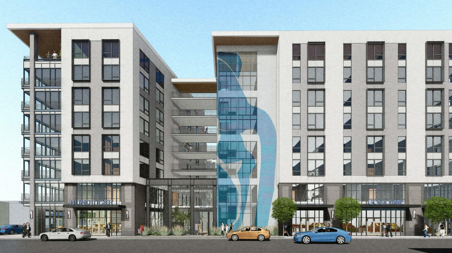 2600 Telegraph Avenue vertical facade elevation, rendering by BAR Architects