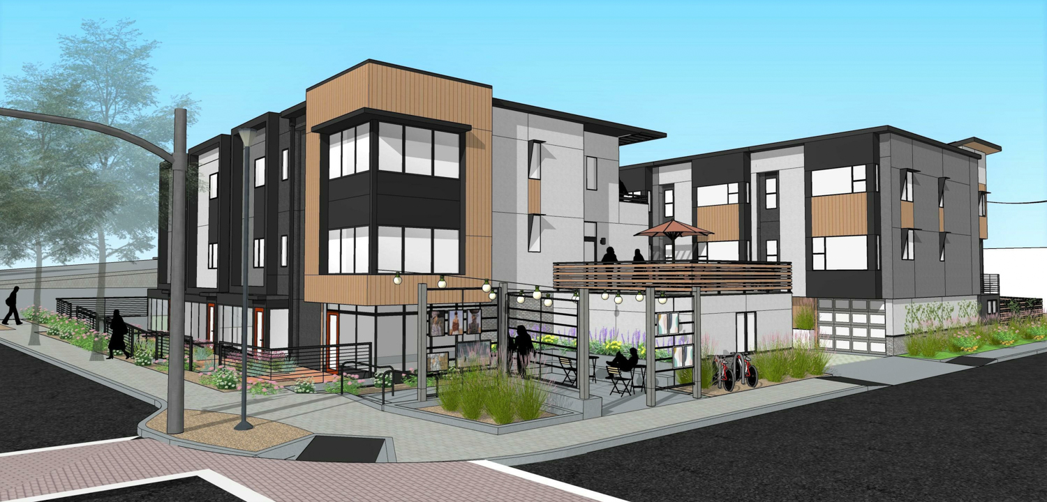 3458 Mount Diablo Boulevard overall corner view, rendering by Coast Architecture and Design