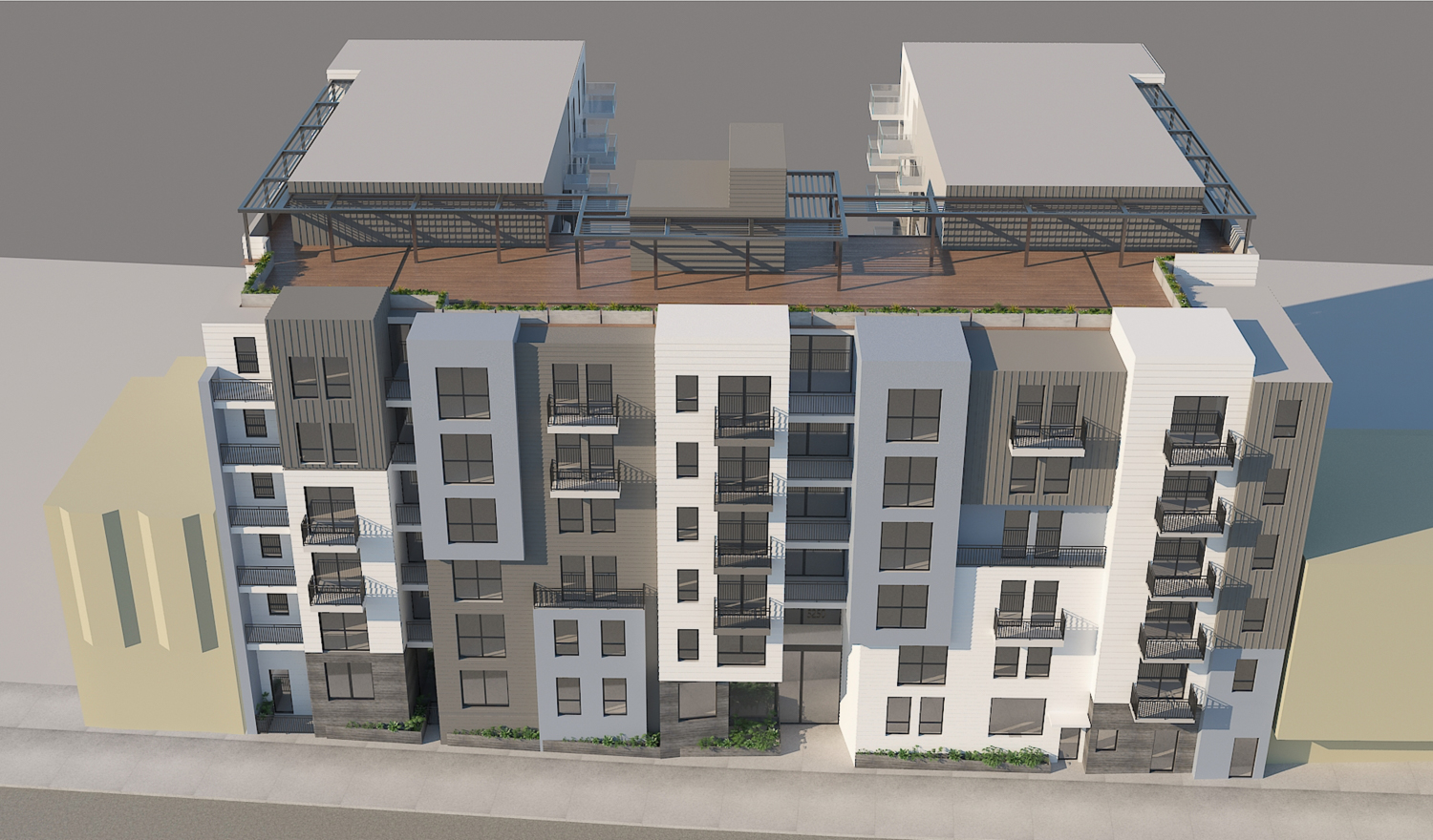 5250 3rd Street aerial perspective, rendering by Leavitt Architecture