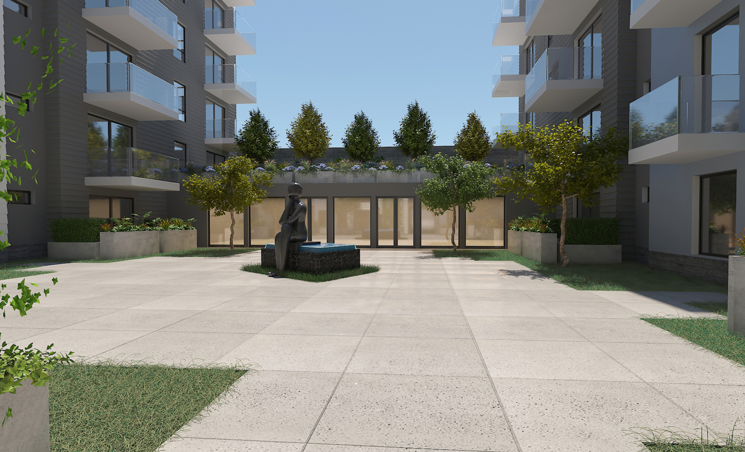 5250 3rd Street courtyard tenant view, rendering by Leavitt Architecture