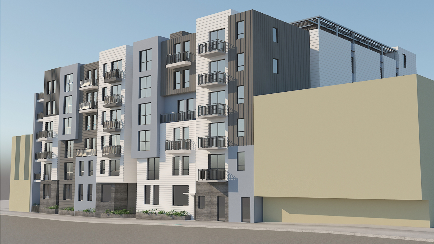 5250 3rd Street from across the street, rendering by Leavitt Architecture