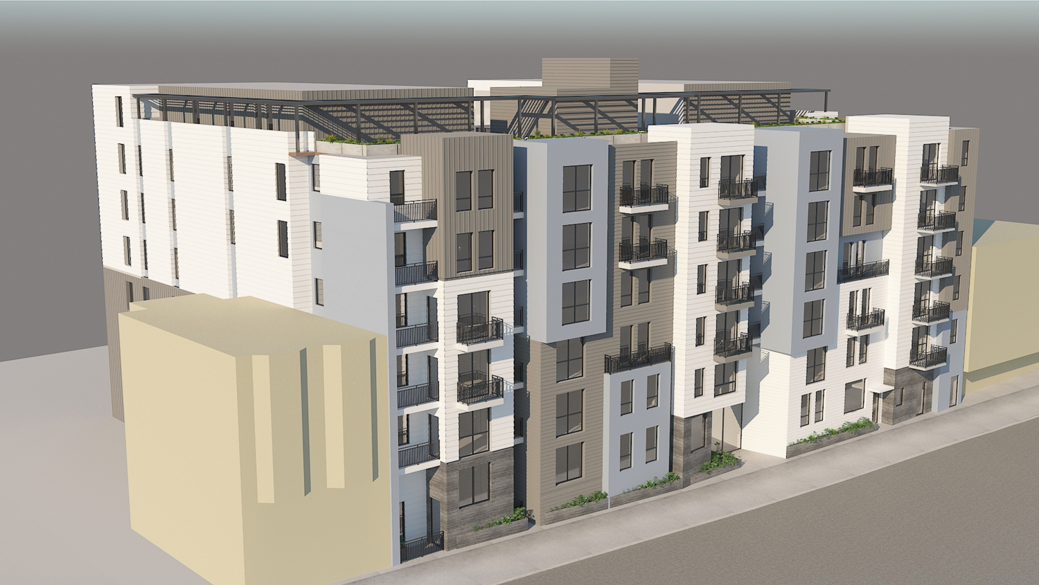 5250 3rd Street side view, rendering by Leavitt Architecture