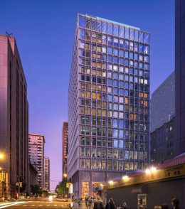 530 Sansome Street commercial variant from Washington Street, rendering by Skidmore Owings & Merrill