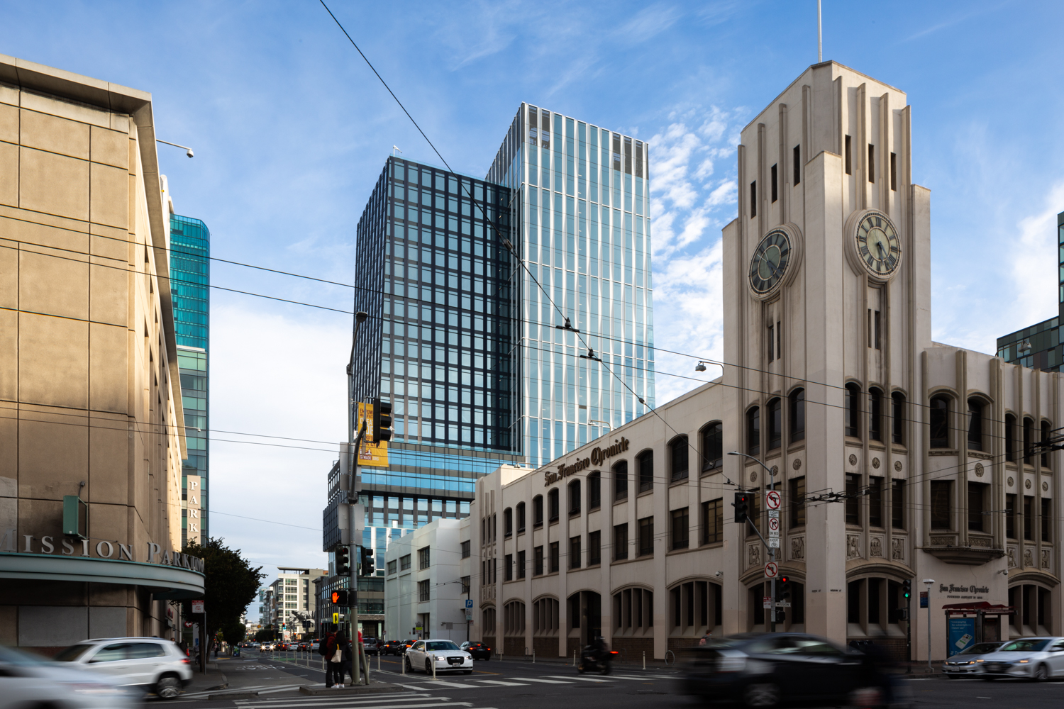 5M office tower at 415 Natoma Street and the former SF Chronicle building, image by Andrew Campbell Nelson