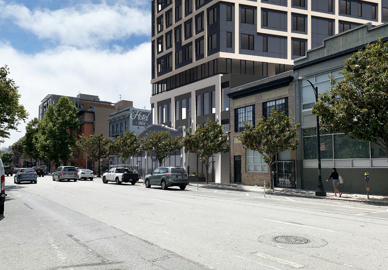960 Howard Street pedestrian view, rendering by oWOW