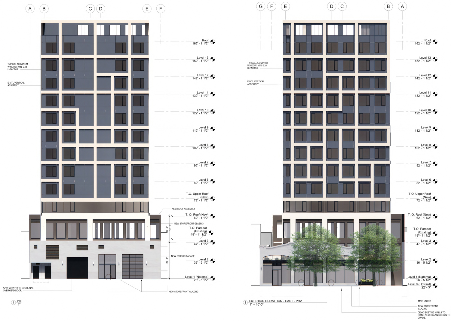 960 Howard Street vertical elevation, illustration by oWOW