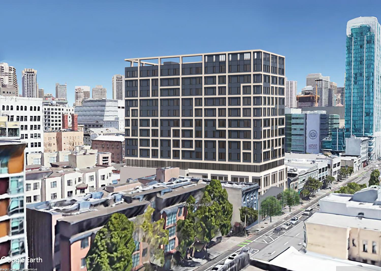 960 Howard Street view looking toward downtown, rendering by oWOW