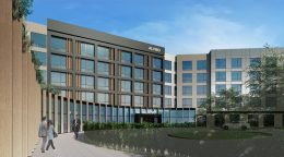 Alviso Hotel at 4701 North First Street entrance, rendering by CORBeL Architects