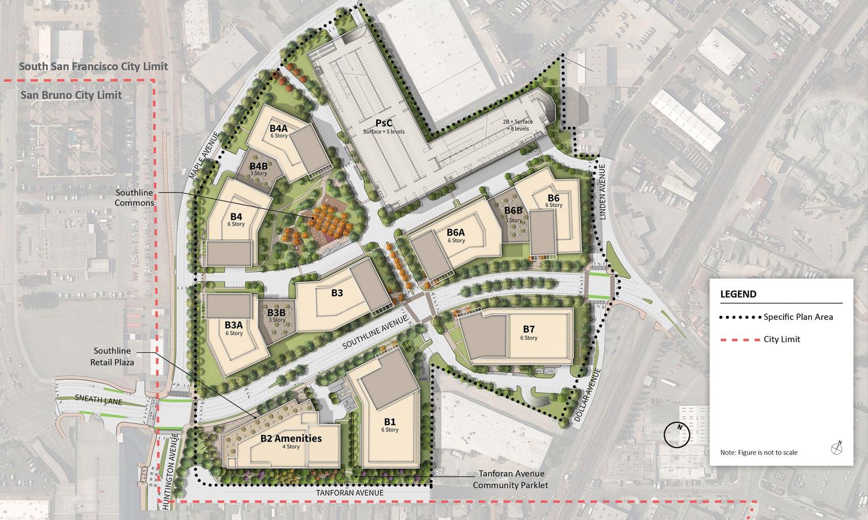 Southline Life Sciences Scenario site plan, image via Kimley Horn