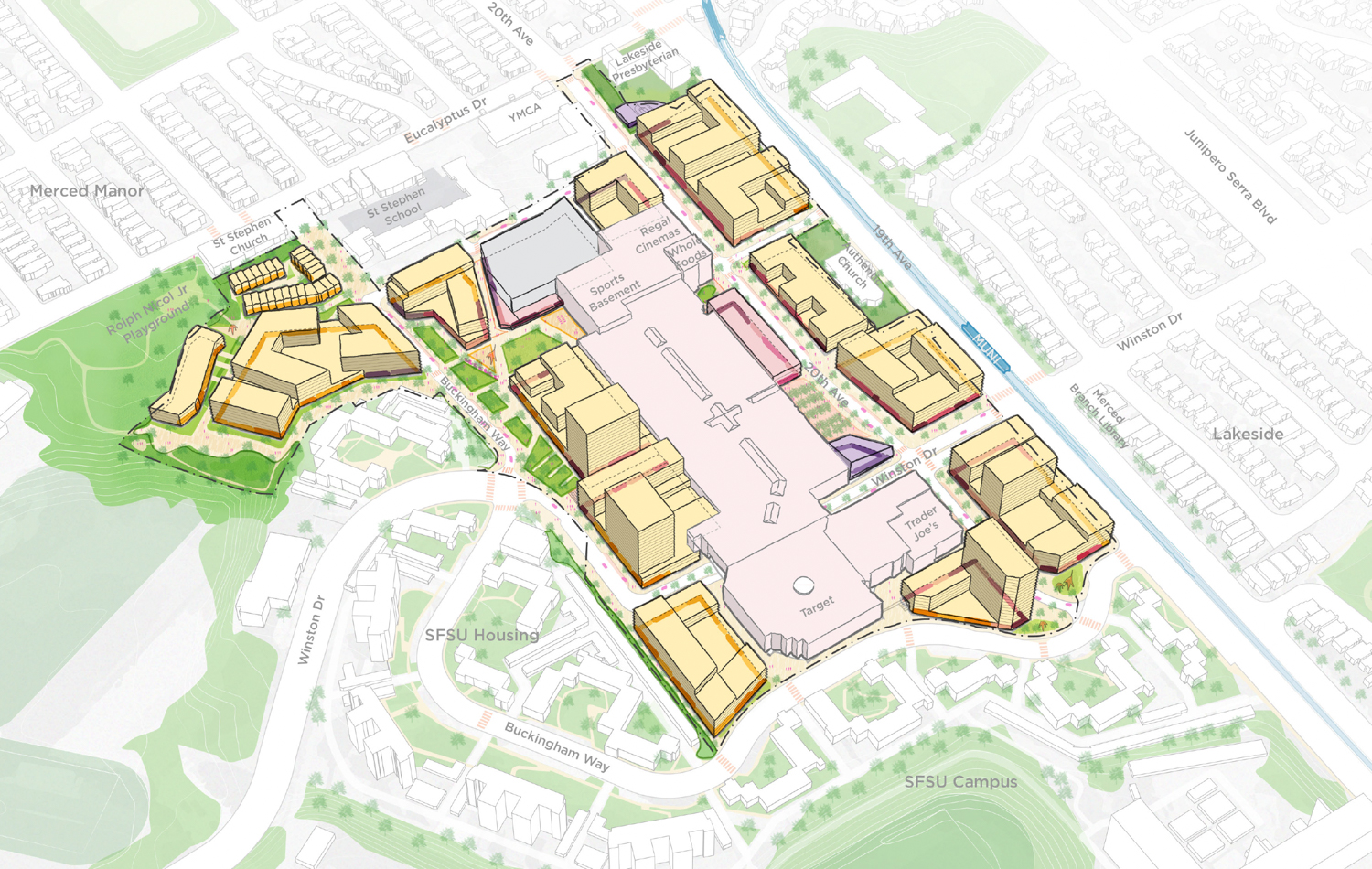 Stonestown Development Project Conceptual site map with buildings visualized, illustration courtesy Brookfield