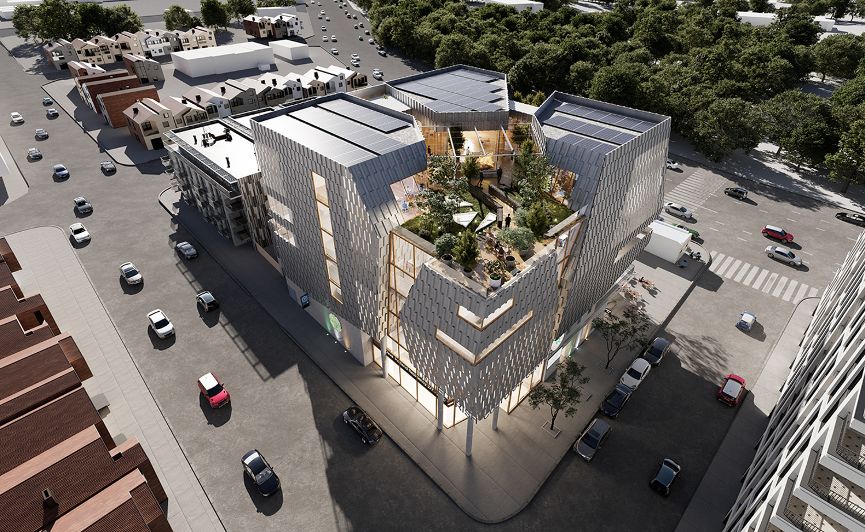 United Irish Cultural Center aerial perspective, design by Studio BANAA