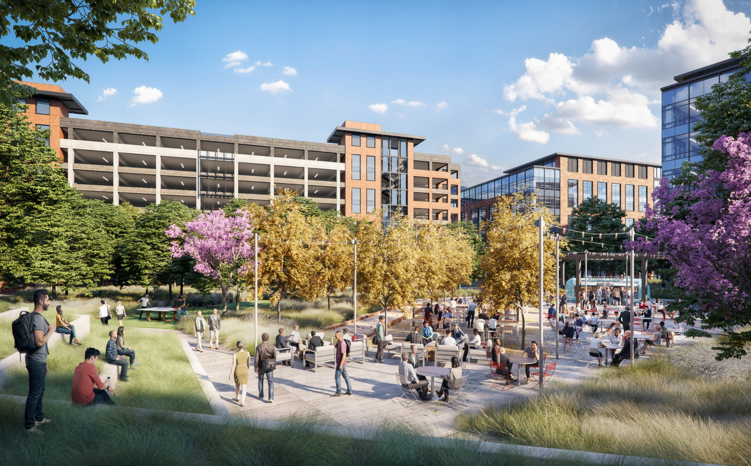 View of the Southline Commons, an expansive courtyard, image by DES Architects and Engineers